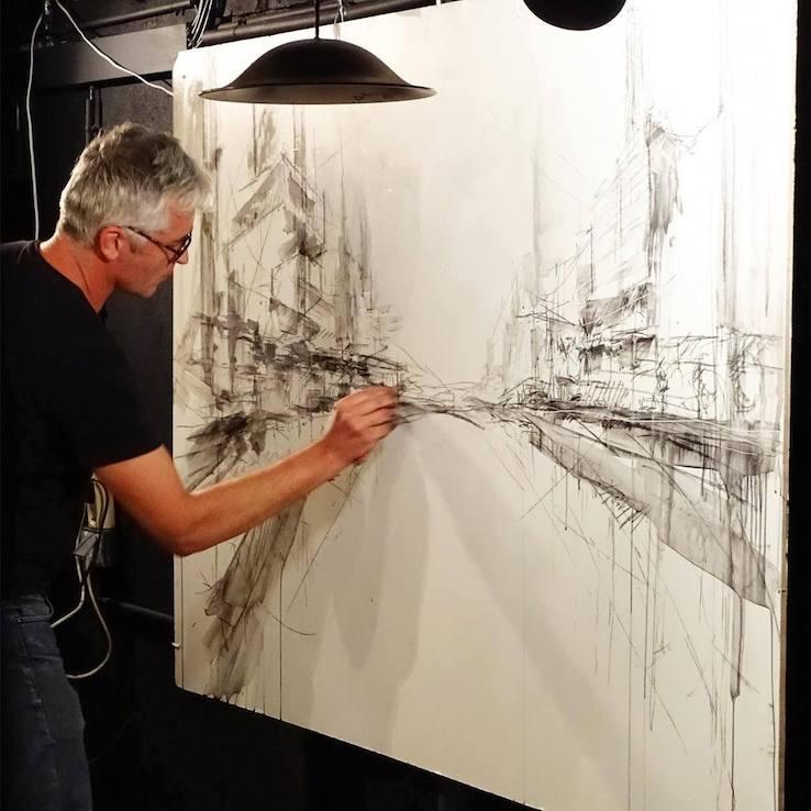 peintre, galerie, alcove